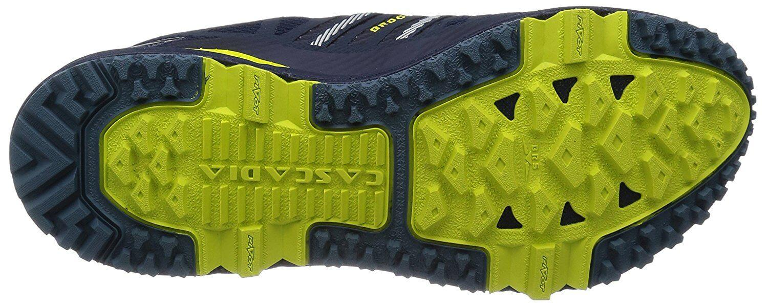 the outsole of the Brooks Cascadia 10 offers excellent traction and durability