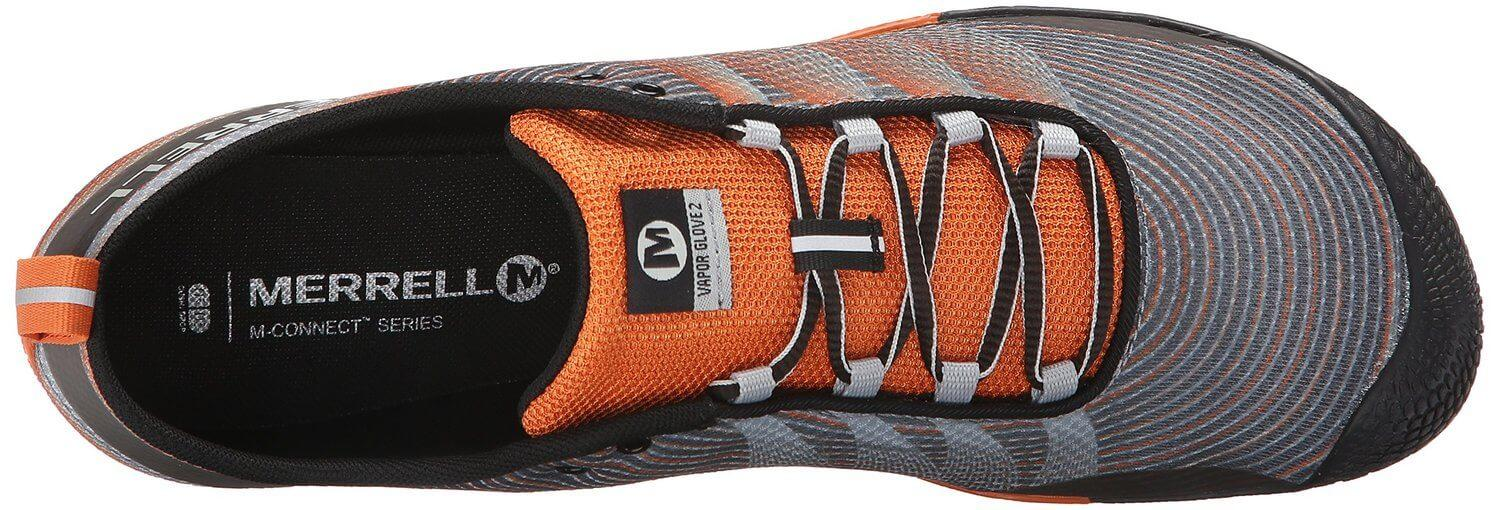 the lacing system of the Merrell Vapor Glove 2 provides a snug fit and helps keep the tongue in place