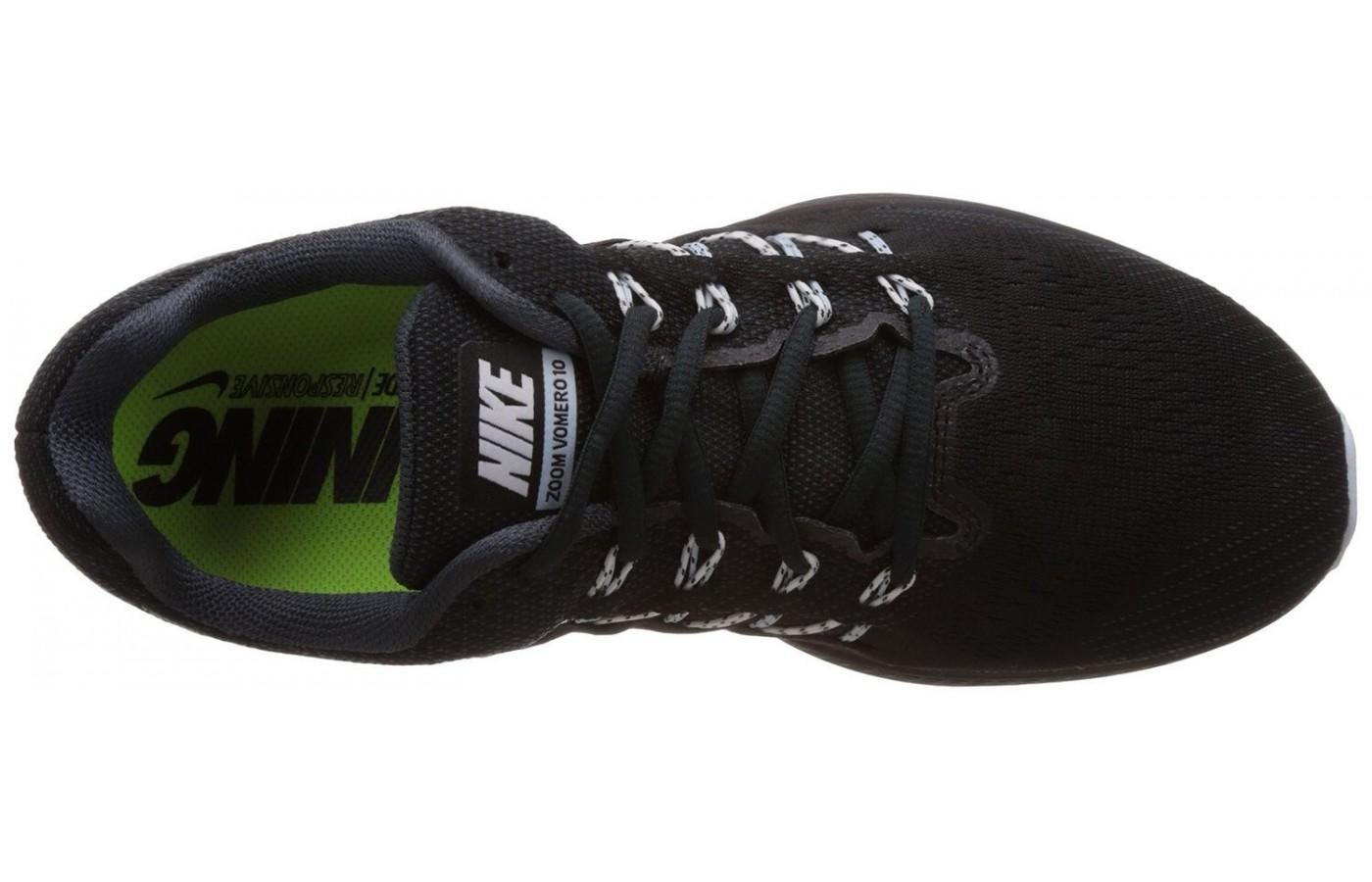 The Nike Air Zoom Vomero 10 uses Flymesh material to provide a lightweight upper.