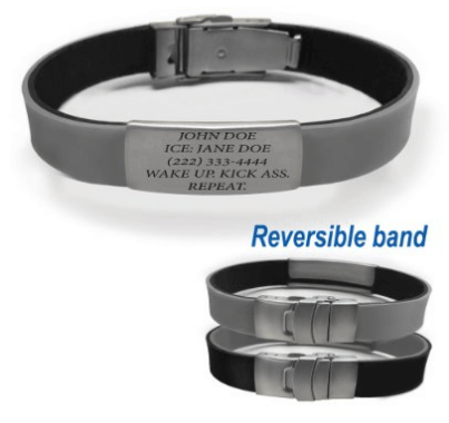 Reversible Black and Sport Fitness Safety ID Bracelet