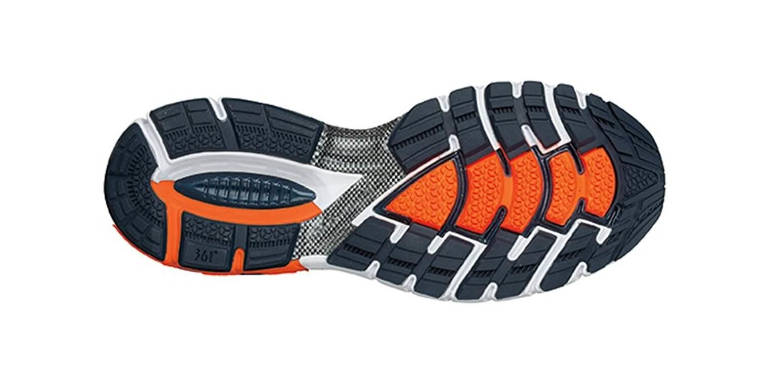 the outsole of the 361 Degrees Strata features numerous flex grooves for added flexibility and to promote natural stride