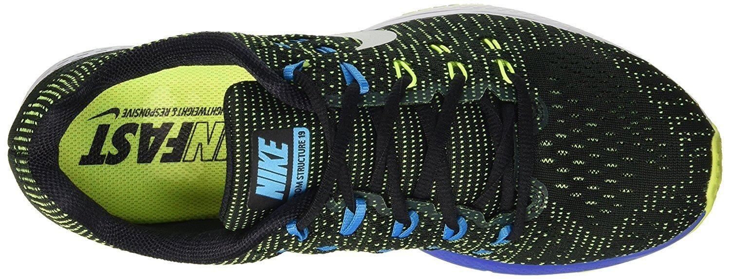 The upper of the Nike Air Zoom Structure 19 features a FlyWire lacing system.