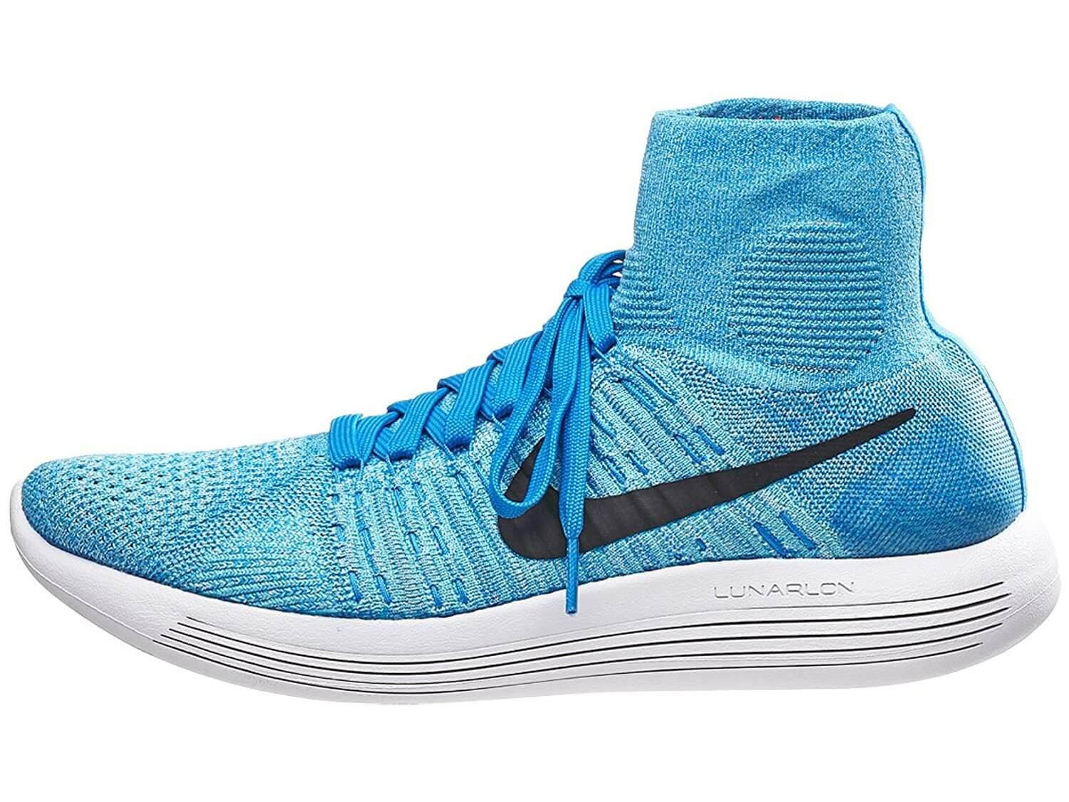 The higher ankle covering offers more style options for the Nike LunarEpic Flyknit.