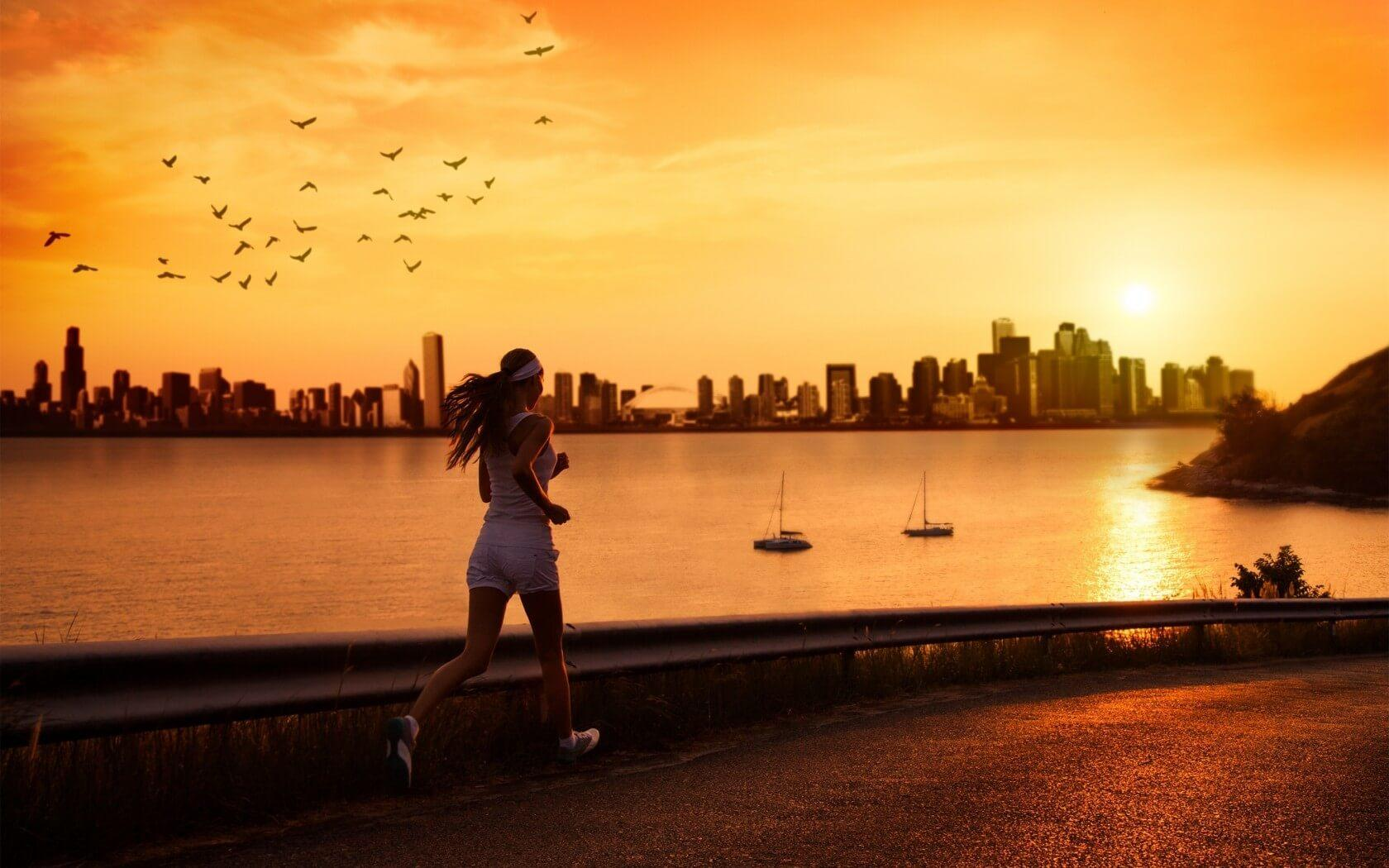 running_in_the_sunset_wallpaper_hd