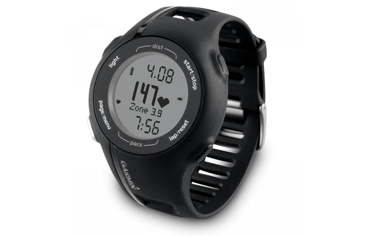 Forerunner 210 is a basic GPS watch with optional heart rate monitor and foot pod