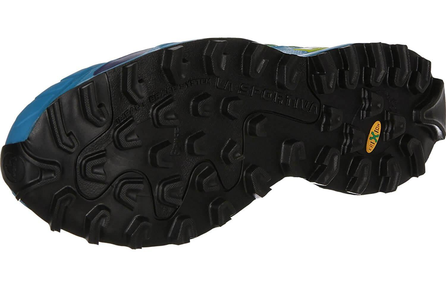 the outsole of the La Sportiva Mutant features tenacious treads and allows runners to screw in separate spikes for more traction