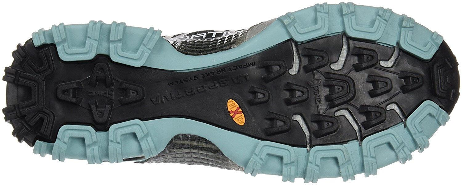 the outsole of the La Sportiva Bushido features sticky rubber that provides great traction