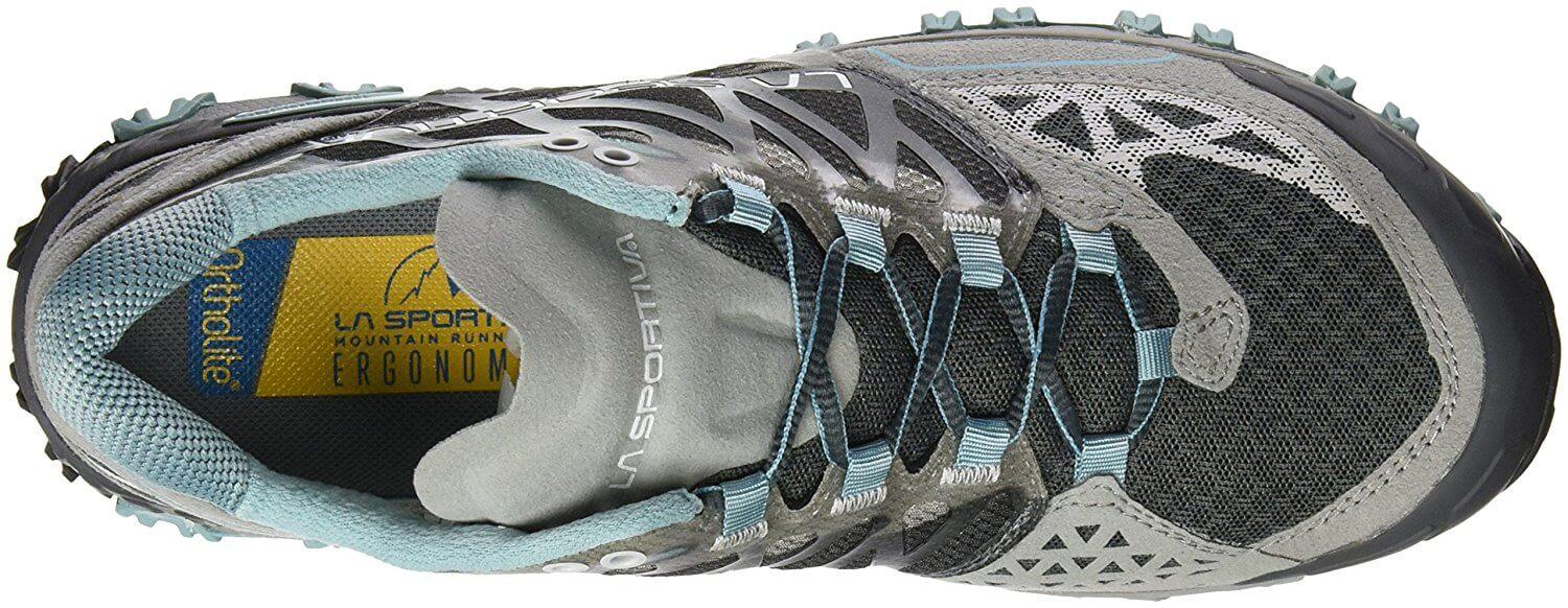 the upper of the La Sportiva Bushido offers plenty of protection from hazards that can be found on the trail