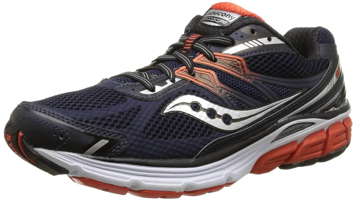 The Saucony Omni 14 uses a combination mesh/synthetic leather upper.