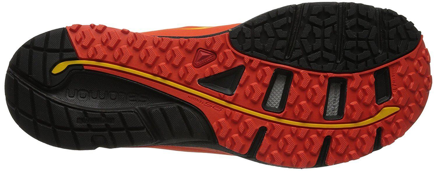 the outsole of the Salomon Sense Mantra 3 is covered with numerous lugs to provide dynamic traction