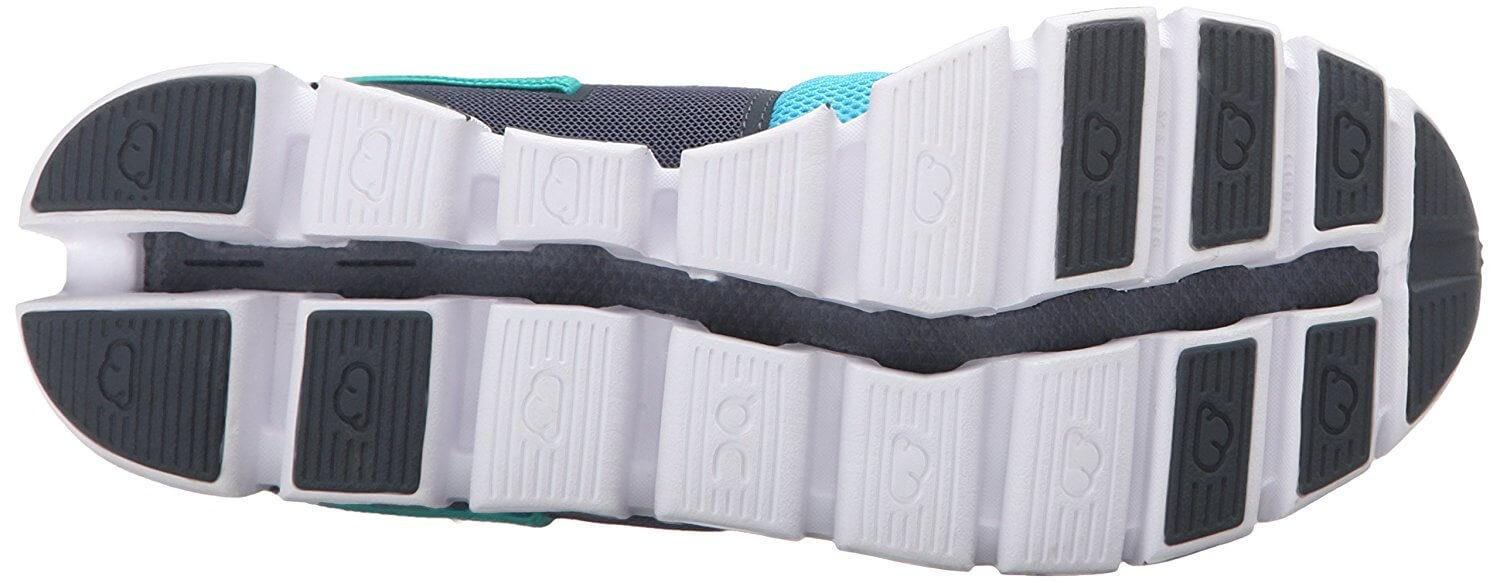 The On Cloud uses CloudTec outsole technology with hard foam instead of rubber.