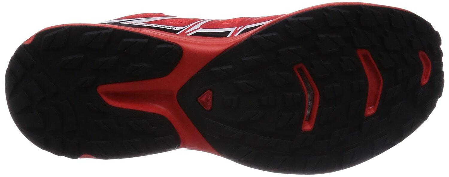 The Salomon S-Lab Wings' outsole is perfect for use on trails and flatter running tracks.