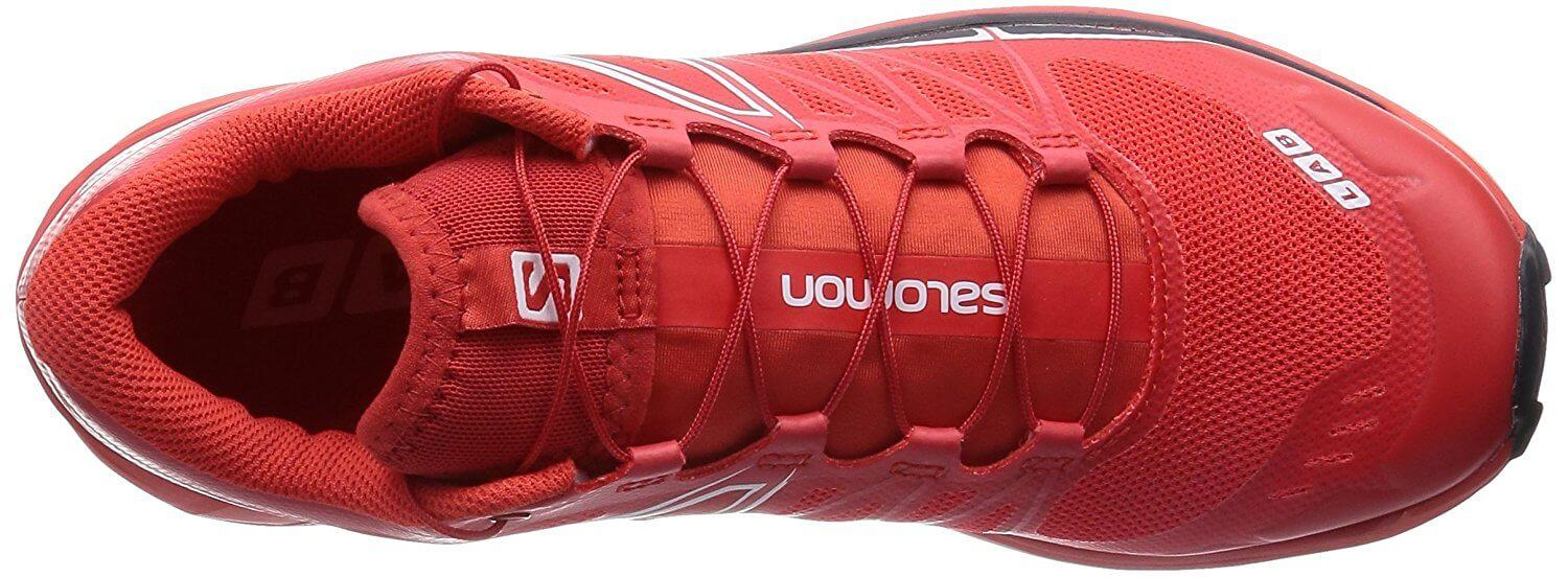 The 3D stretch mesh used for the Salomon S-Lab Wings' upper provides a tight fit that is also breathable.