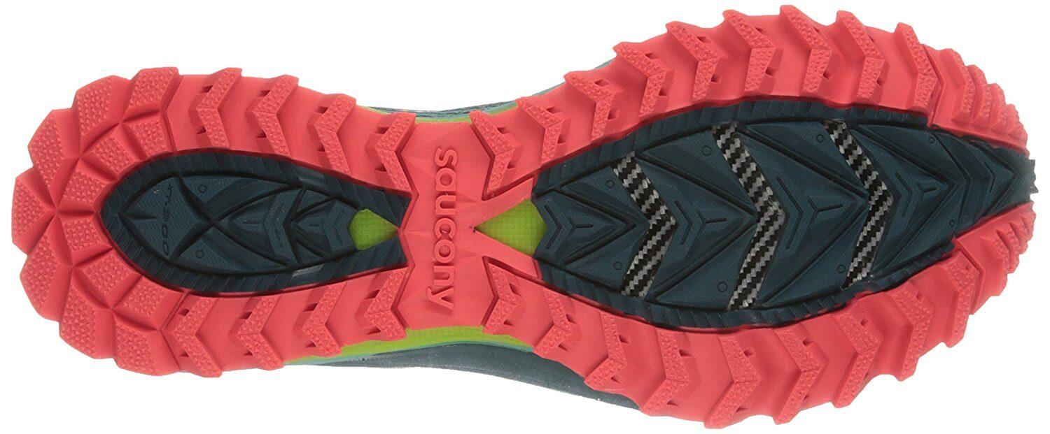 The Saucony Peregrine 5 uses XT 900 carbon rubber for its outsole.