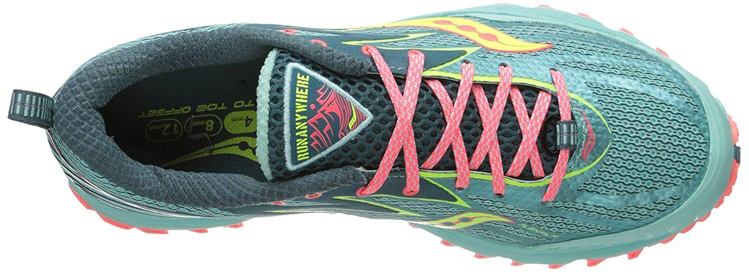 A toe bumper on the front of the Saucony Peregrine 5's upper prevents debris from hurting runners' toes.