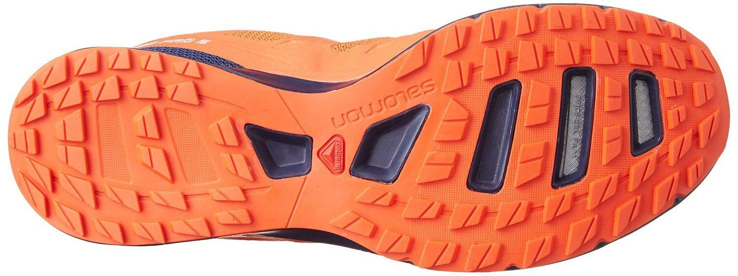 The Contragrip outsole on the Salomon Sense Pro 2 provides impeccable traction on many different surfaces.