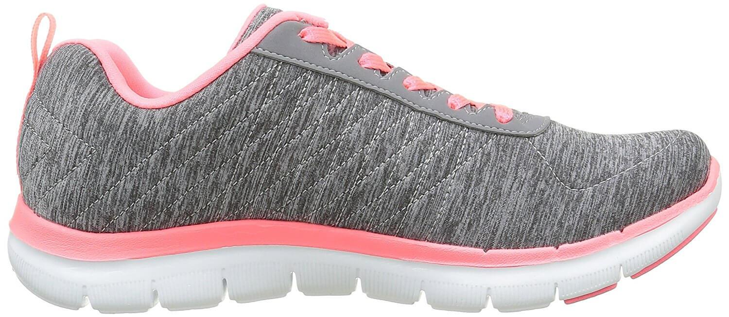 A soft and cushioned midsole makes the Skechers Flex Appeal very comfortable.