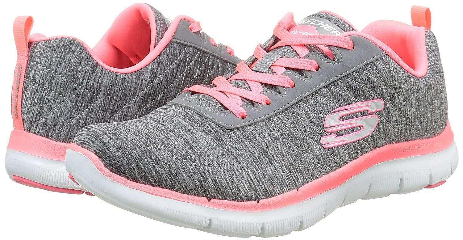 Bright colors accent the Skechers Flex Appeal