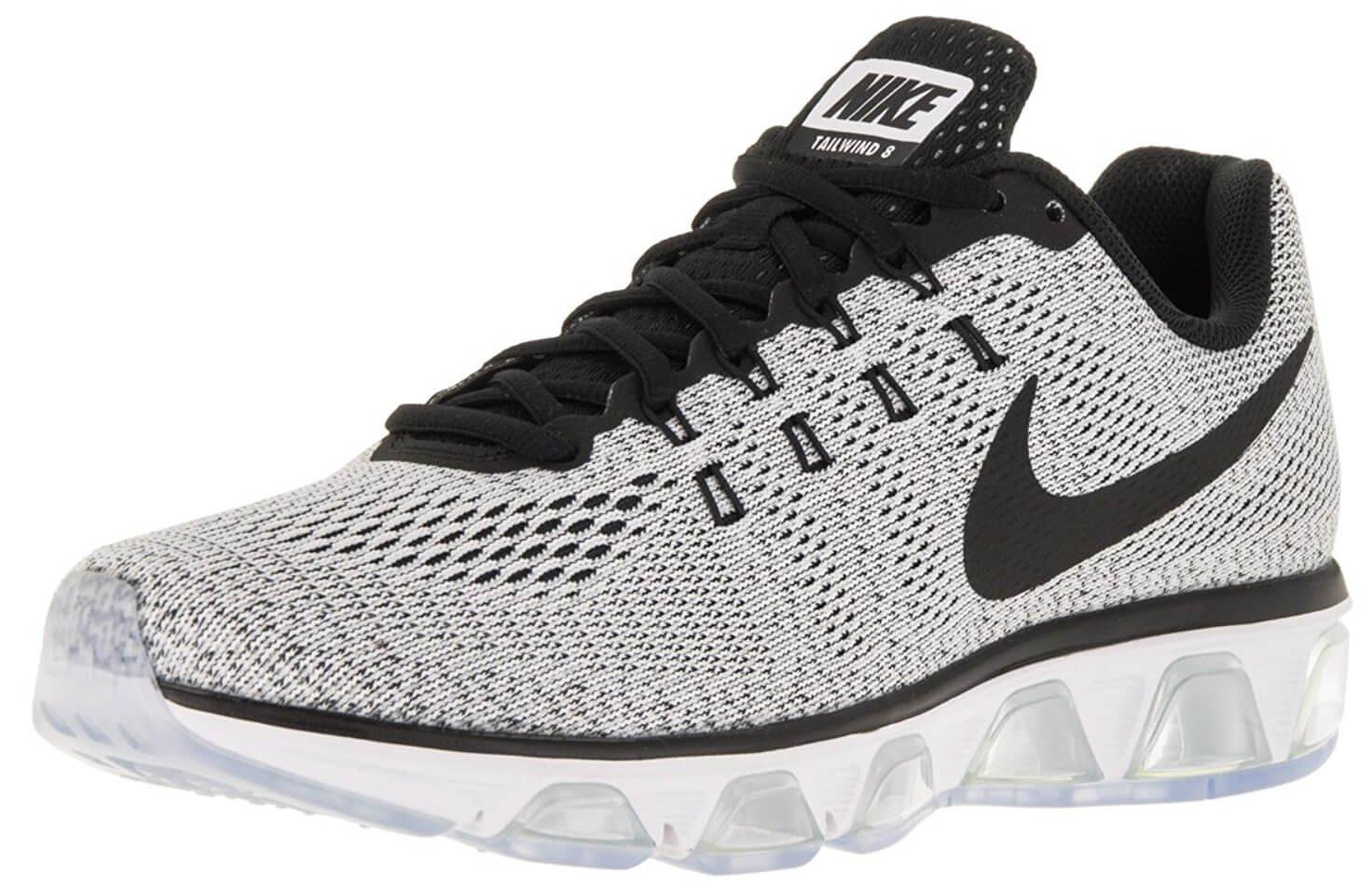 Silver And White Nike Running Shoes
