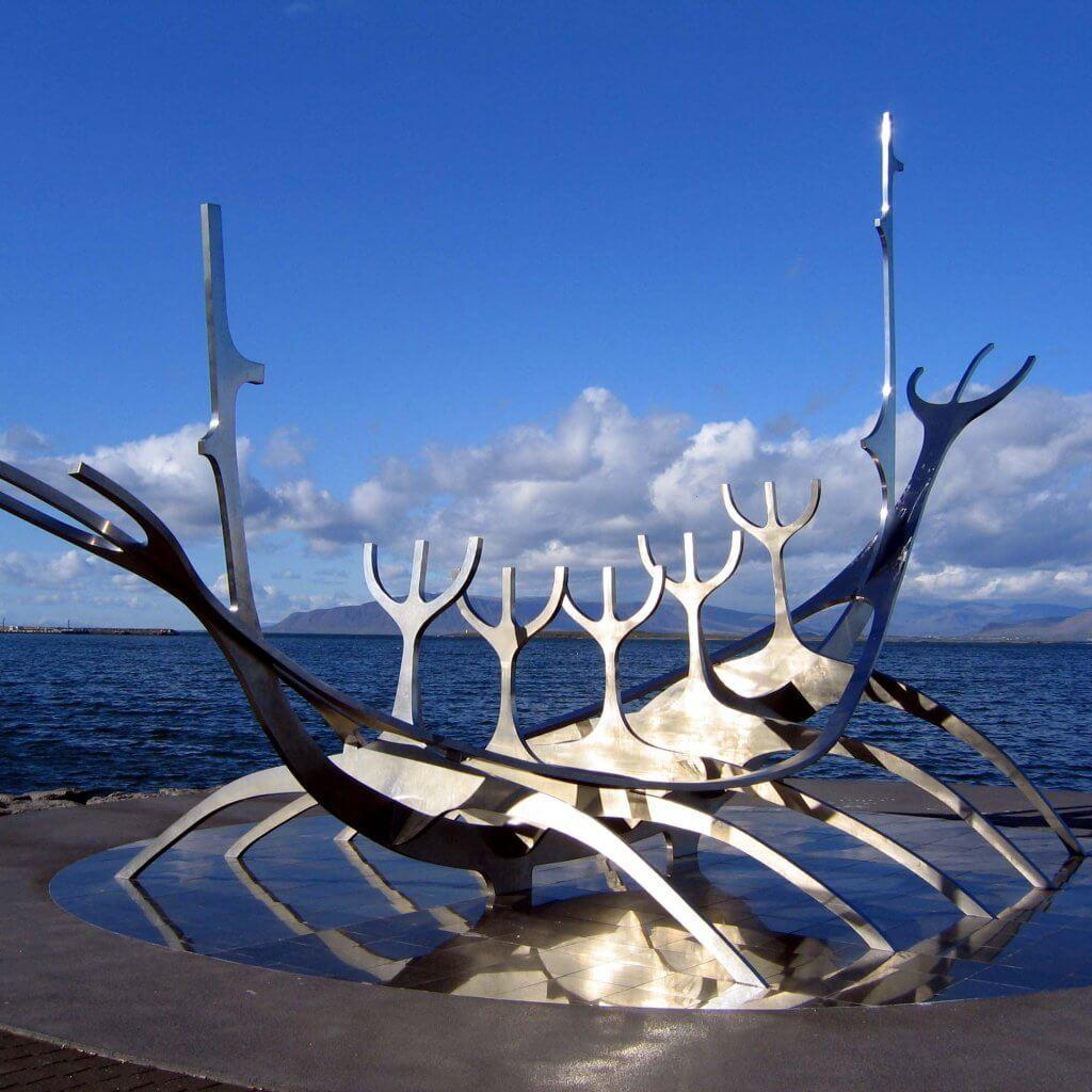 The Solfar sculpture at the Reykjavic seafront, Iceland.
