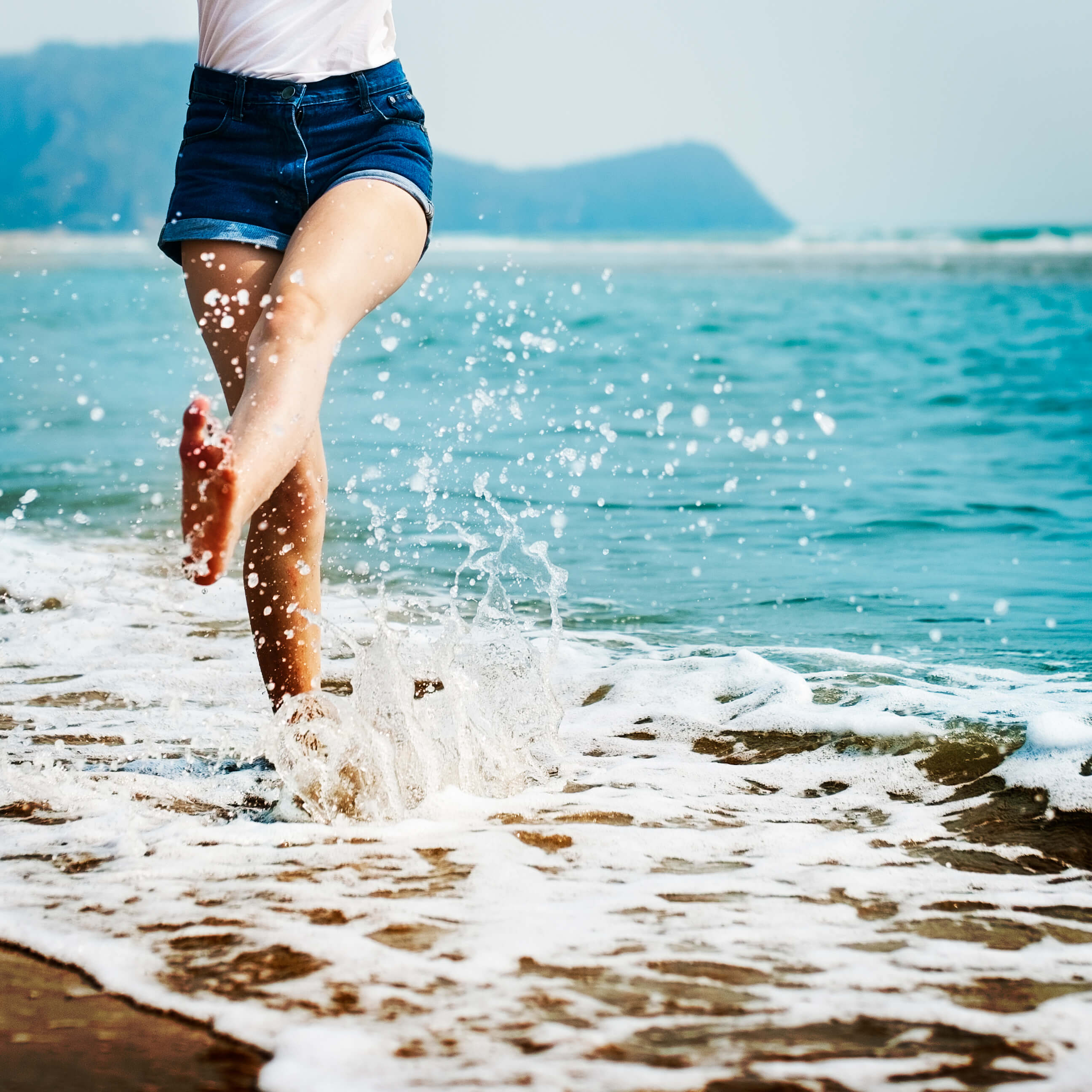 Barefoot in the surf
