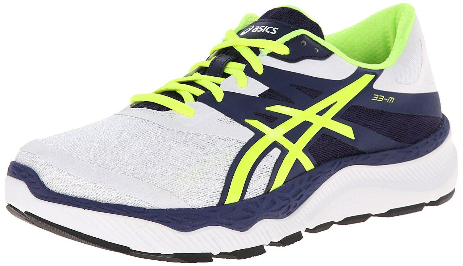 A three quarter view of the Asics 33 M ...
