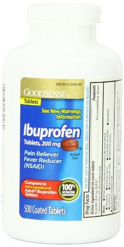 GoodSense 200 mg Ibuprofen Tablets, Fever Reducer and Pain Relief from Body Aches, Headache, Arthritis Pain and More, 500 Count