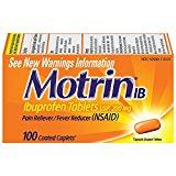 Motrin IB, Ibuprofen 200mg Tablets for Fever, Muscle Aches, Headache & Back Pain Relief, 100 ct.