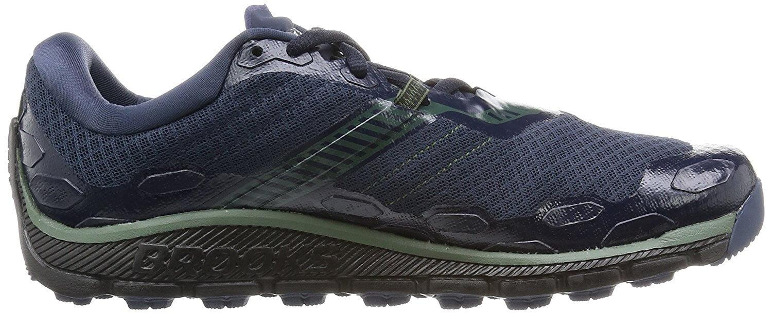 A side view of the Brooks PureGrit 5 running shoe