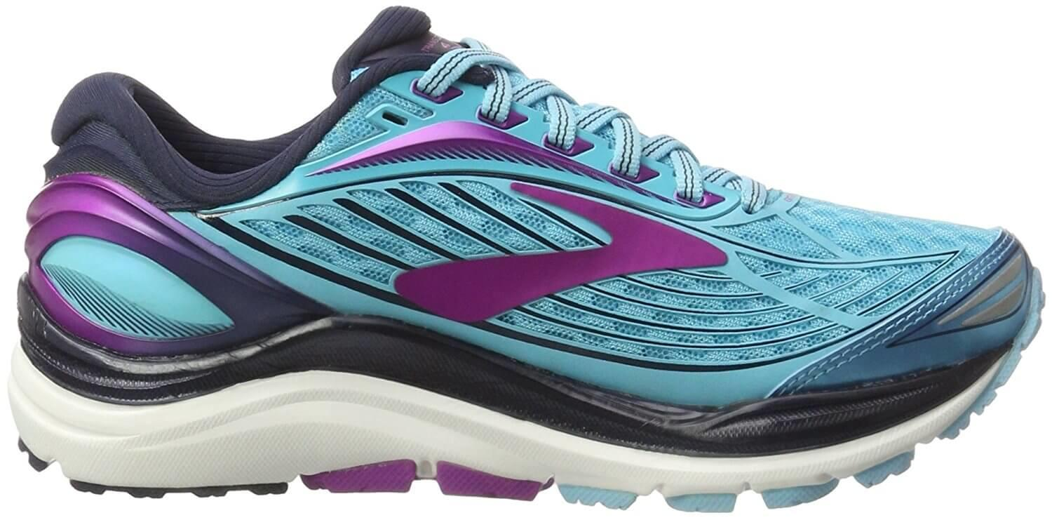 A side view of the Brooks Transcend 4 running shoe