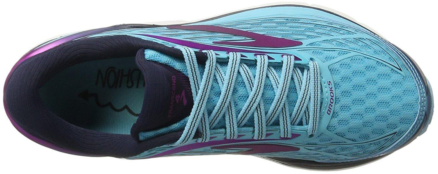 A top view of the Brooks Transcend 4 running shoe