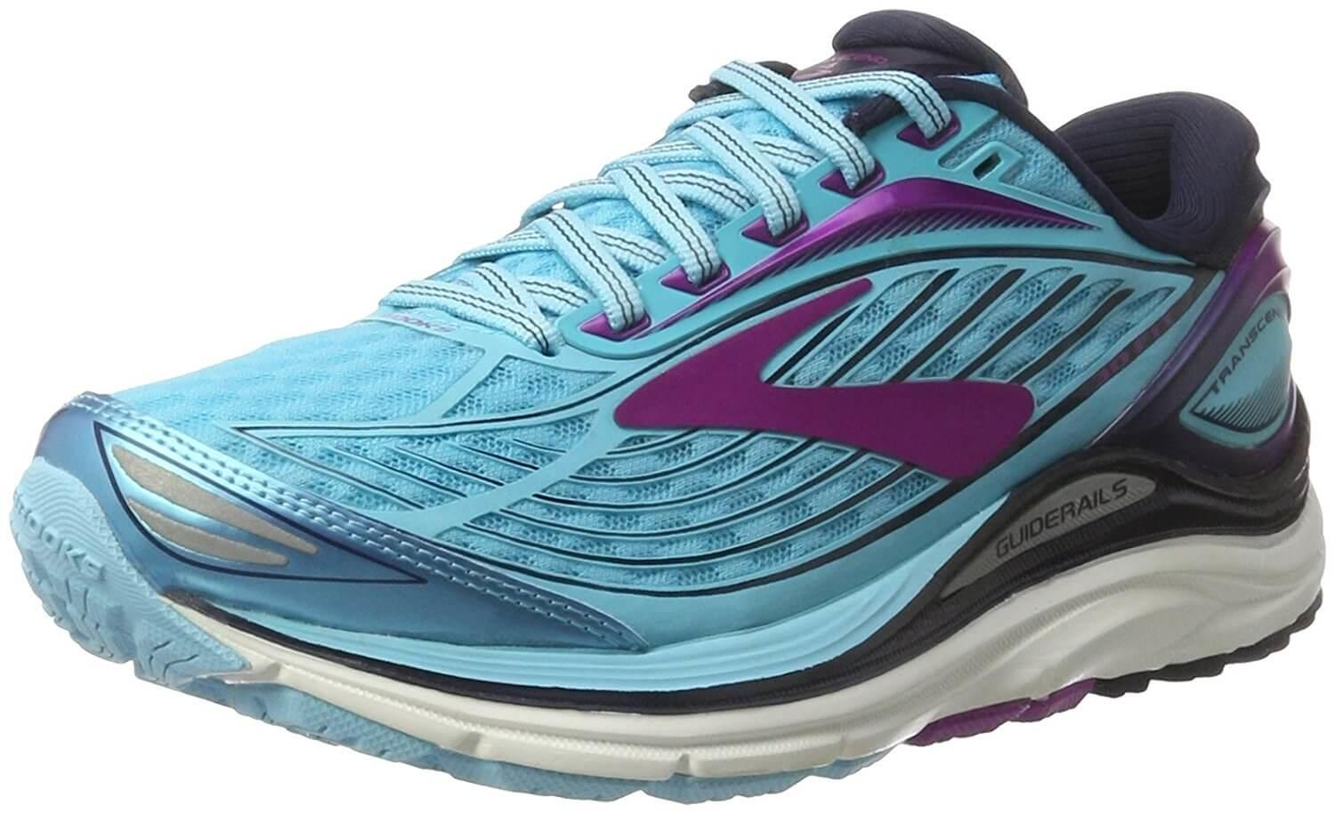 A three quarter view of the Brooks Transcend 4 running shoe ...