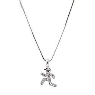 8. Crystal Runner Figure Charm Necklace