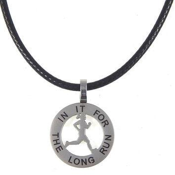 3. Runner Girl Mantra Charm Necklace