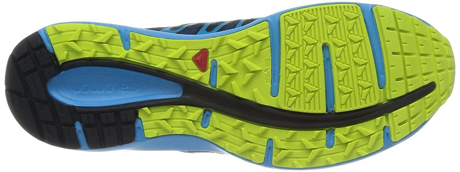 A bottom view of the Salomon X Tour trail running shoe