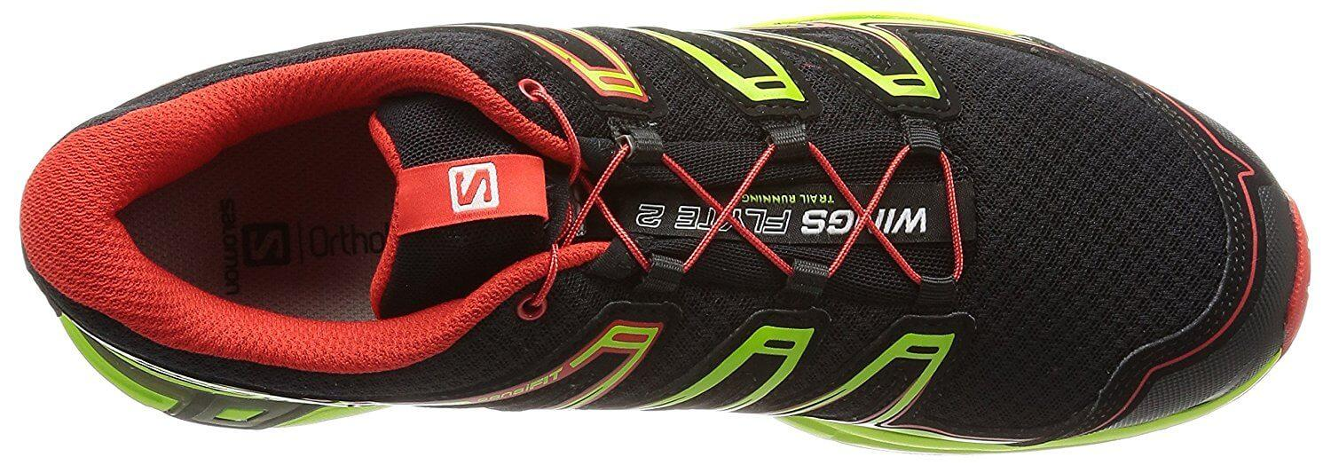 A top view of the Salomon Wings Flyte 2 trail running shoe