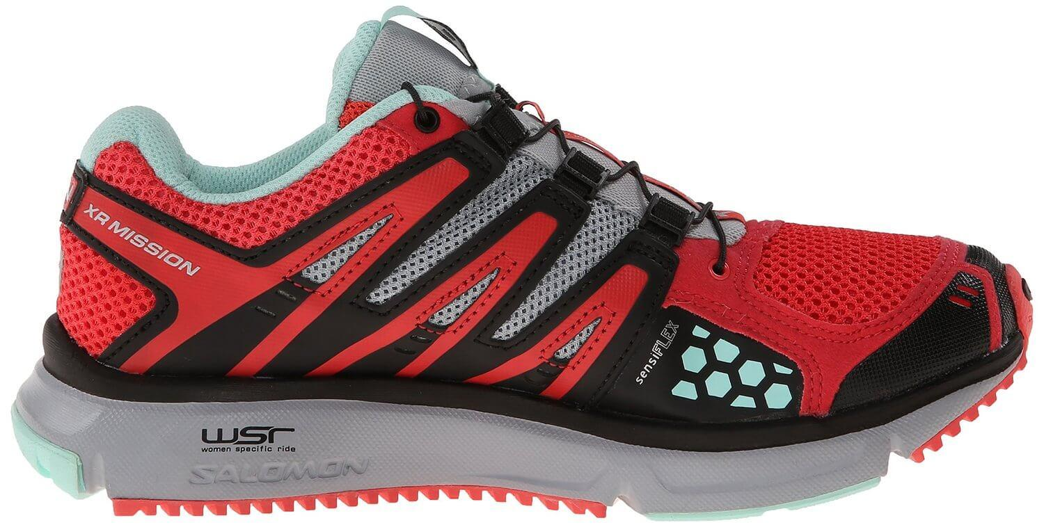 A medial side view of the Salomon XR Mission trail running shoe