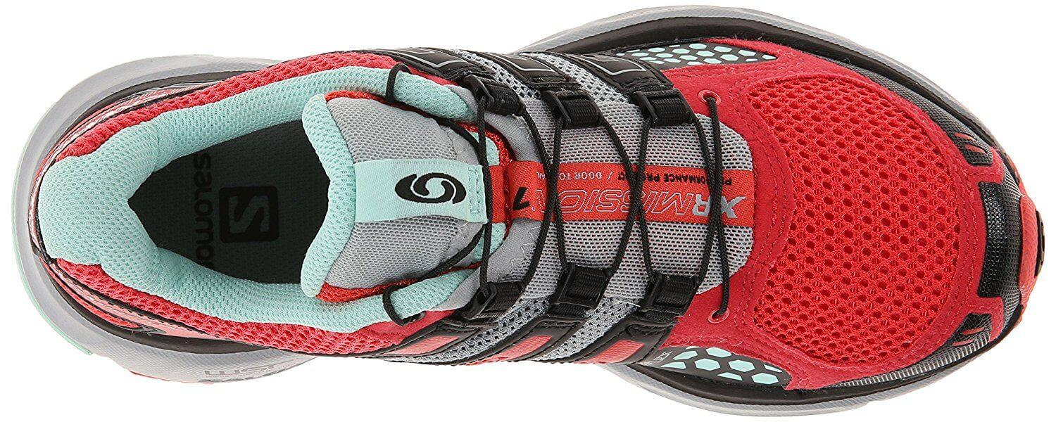 A top view of the Salomon XR Mission trail running shoe