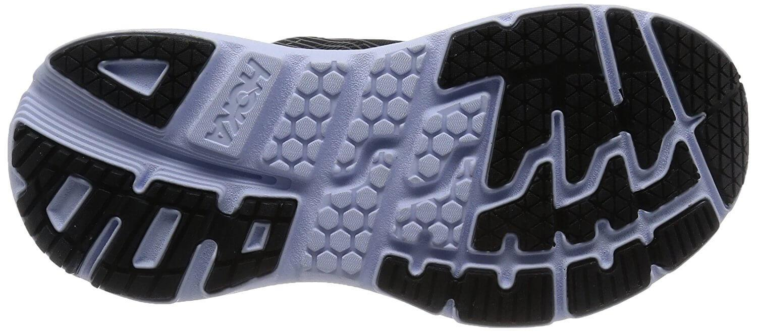 Superior traction of the rubber outsole of the Hoka One One Bondi 5