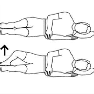 line drawing of clam shell physical therapy exercise