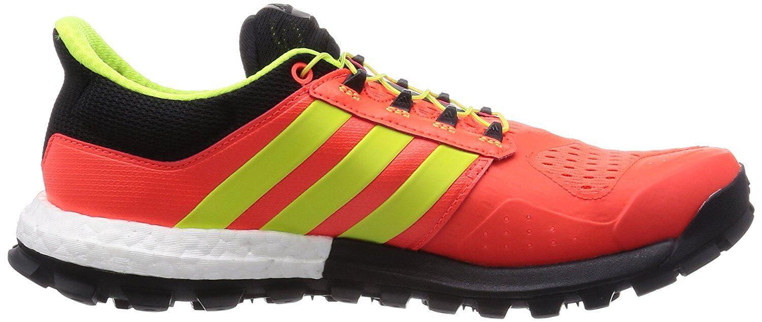 Quinticential  Adidas stripes on the side view of the Adistar Raven Boost.