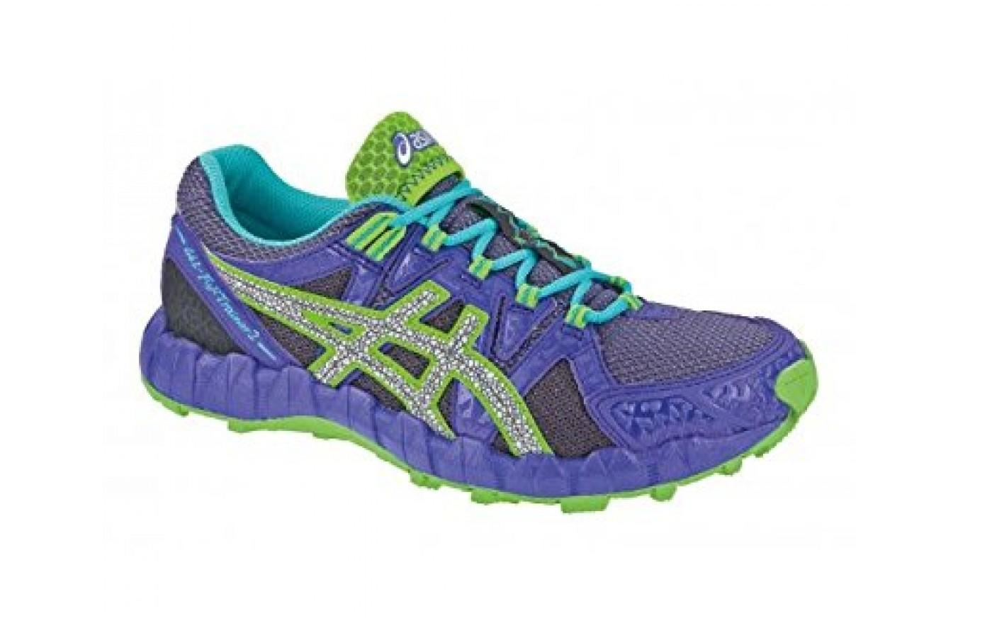 Women's Asics Gel Fuji Trainer 2 in purple and lime