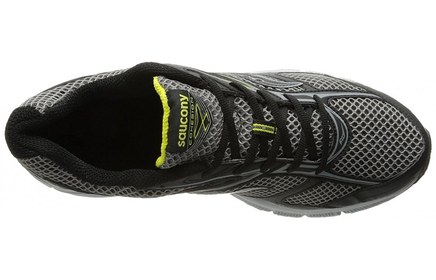 the Saucony Cohesion TR 8 has lots of breathable mesh so the foot stays cool and dry