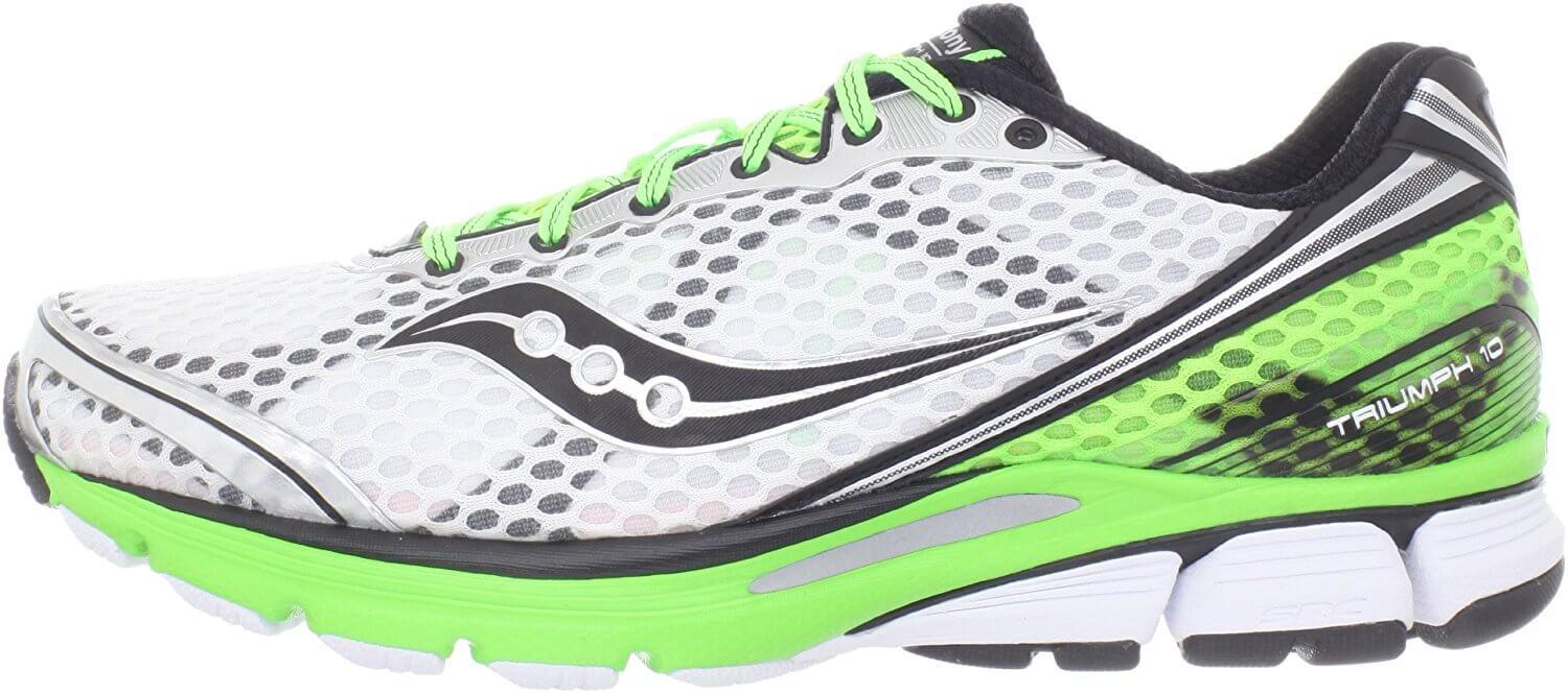 Side View of Saucony Triumph 10 shows bright and neutral colors