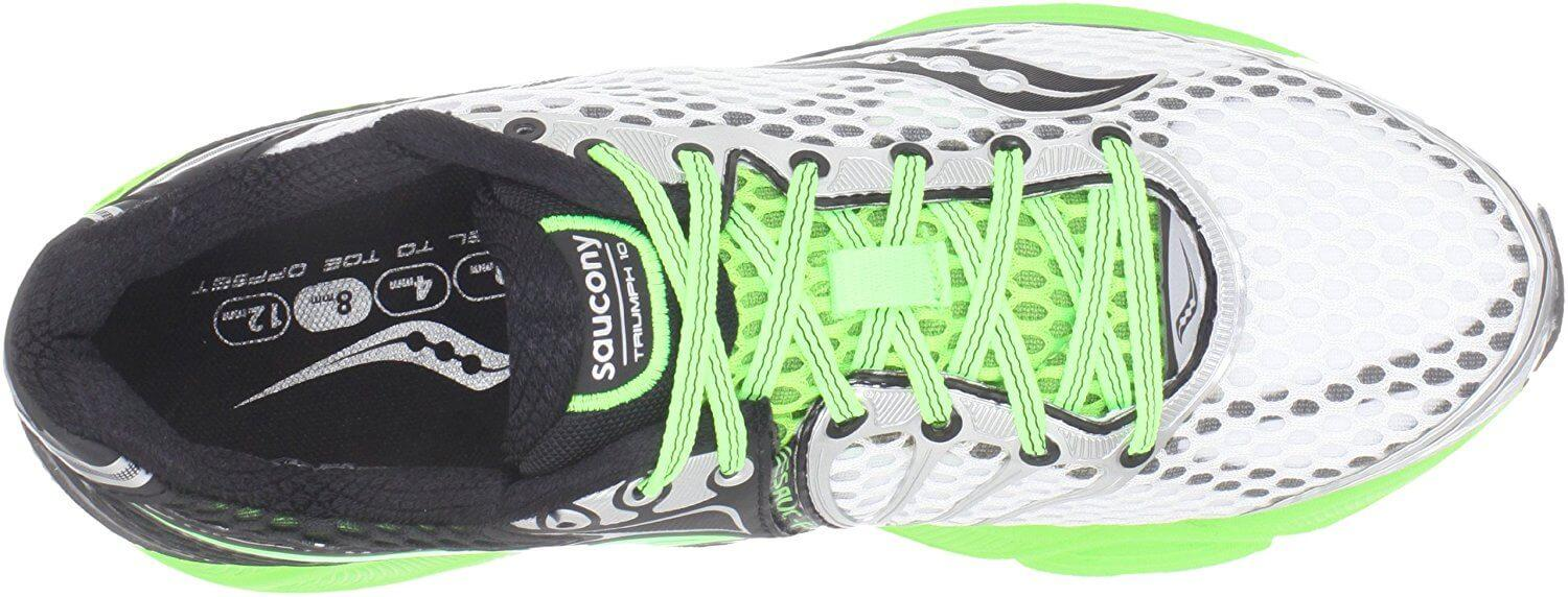 Top View Of Saucony Triumph 10 shows secure lacing system