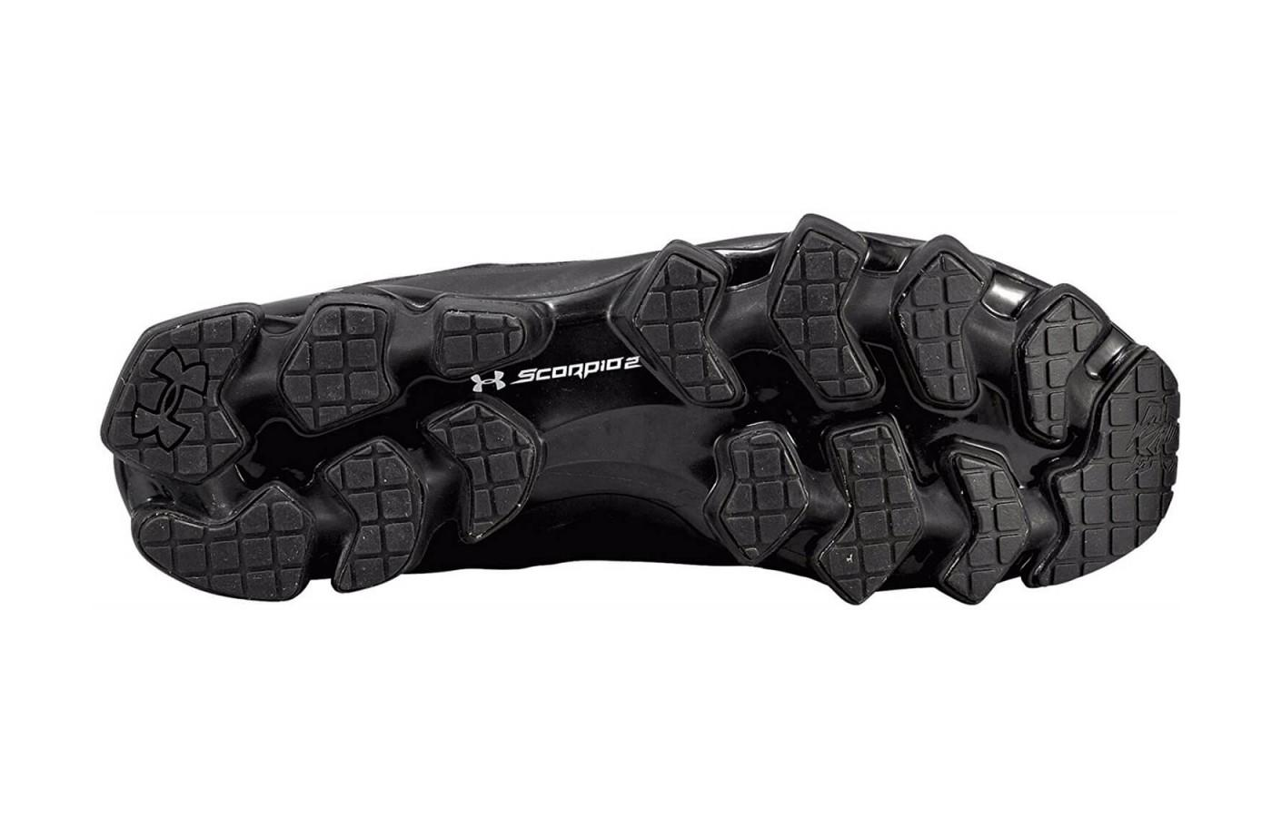 Under Armour Scorpio 2 features a carbon rubber and blown rubber outsole