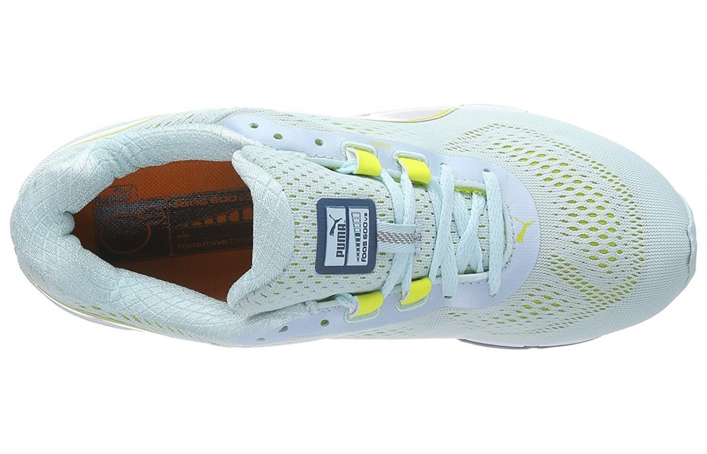 A good look at the breathable air mesh upper of the Puma Faas 600 v3