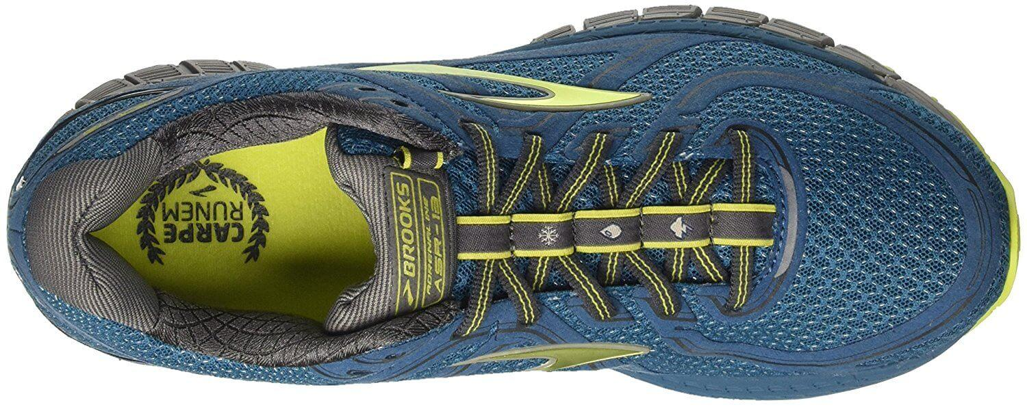 Brooks Adrenaline ASR 13 top view featuring a midsole that secures the foot for a secure ride