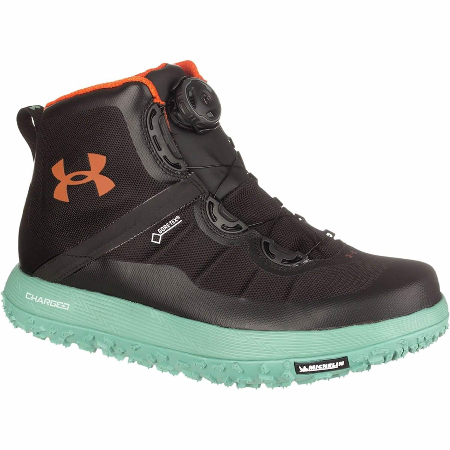 Under Armour Fat Tire GTX with teal outsole and midsole