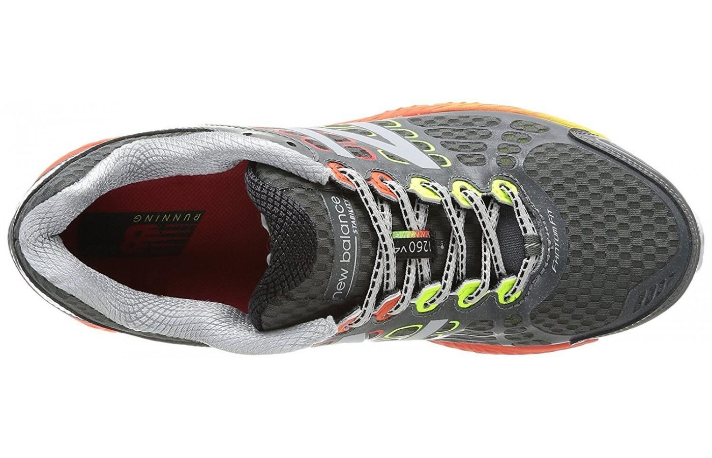 New Balance 1260v4 lacing system and breathable upper